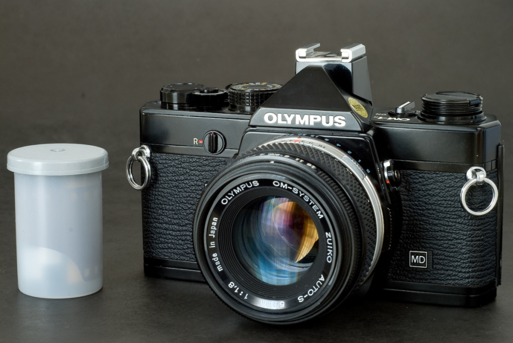 Olympus OM-1 (front view with 35mm cartridge)