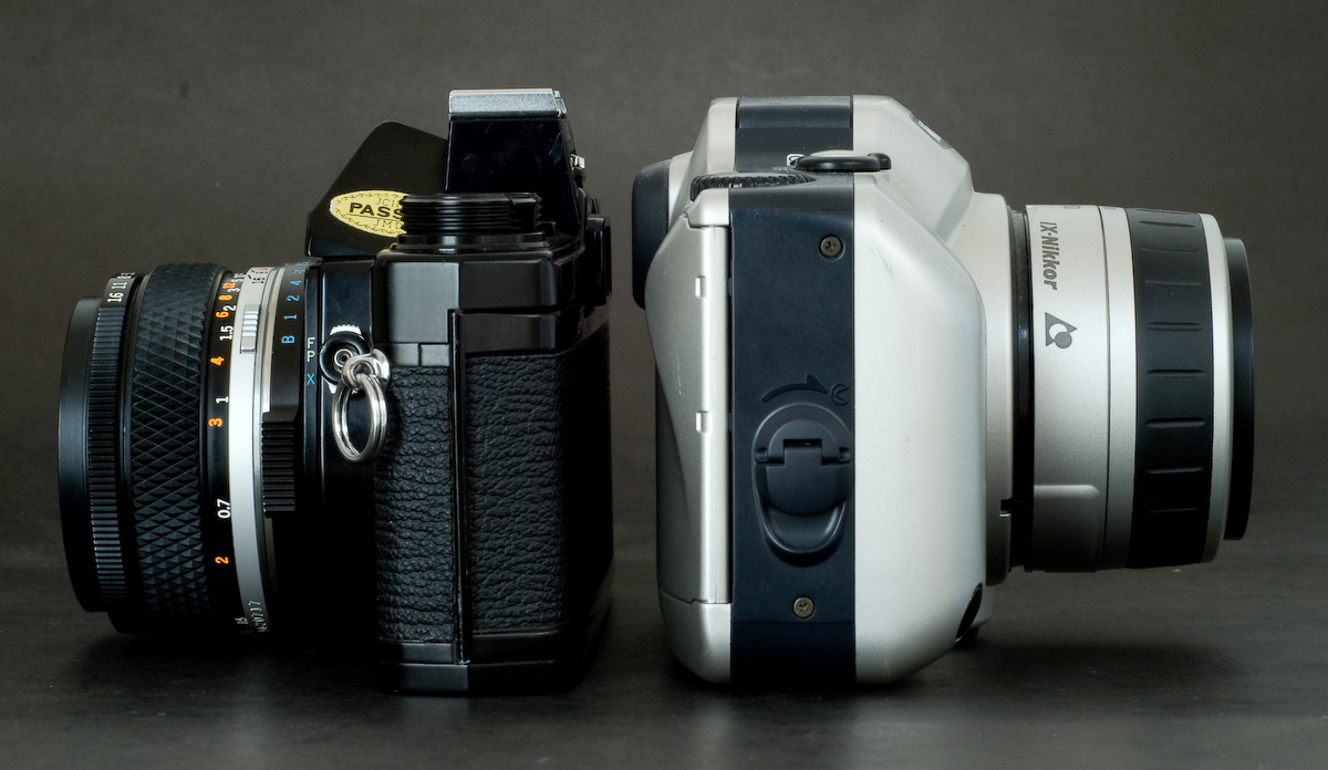 Olympus OM1n / Nikon Pronea S (Side)