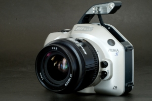 Nikon Pronea S (with the built-in flash deployed and a Nikkor 24mm AF lens)