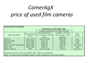Price of a selection of cameras in August 2009