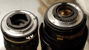 The Nikon F Mount - the AI-S variant (left) and the AF-S (right). Mechanically identical.