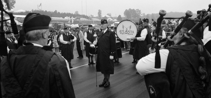 American Petit LeMans - the Atlanta Pipe Band. Nikon FA - Kodak CN400