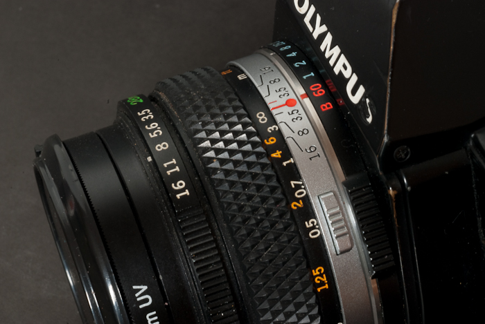 Olympus OM-2S The shutter speed command ring is positioned around the lens mount