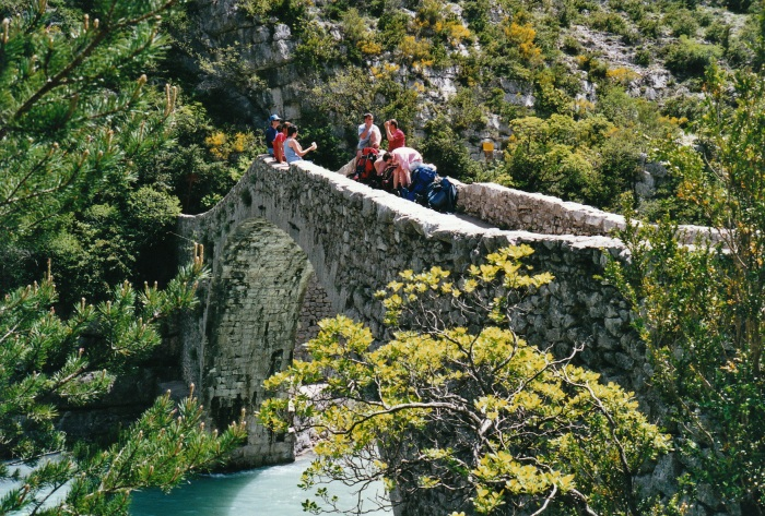 Bridge over the Verdon river (Provence). Scanned from a 4x6 print on a flatbed scanner