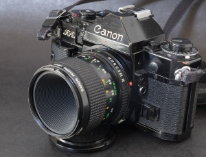 Canon A-1 - battery check, exposure memorization, depth of field preview - buttons, switches and cursors