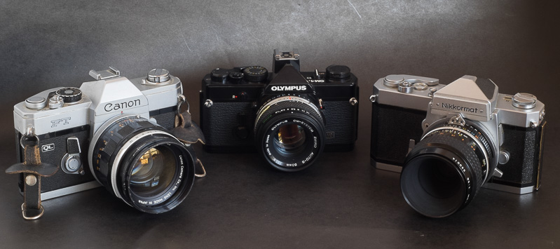 They could be bought in 1971 - Canon FT/QL, Olympus OM1, Nikkormat. The OM-1 is so small.