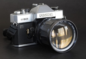 Fujica ST801 with a Pentax Super-Takumar lens - the camera is compatible with almost any 42mm screw mount lens (with stopped down aperture)