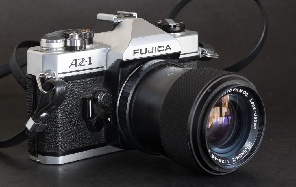 Fujica AZ-1 and Fujinon-X f/3.5-4.5 43mm-75mm zoom - the AZ-1 was the first mass market SLR bundled with a zoom as the standard lens.