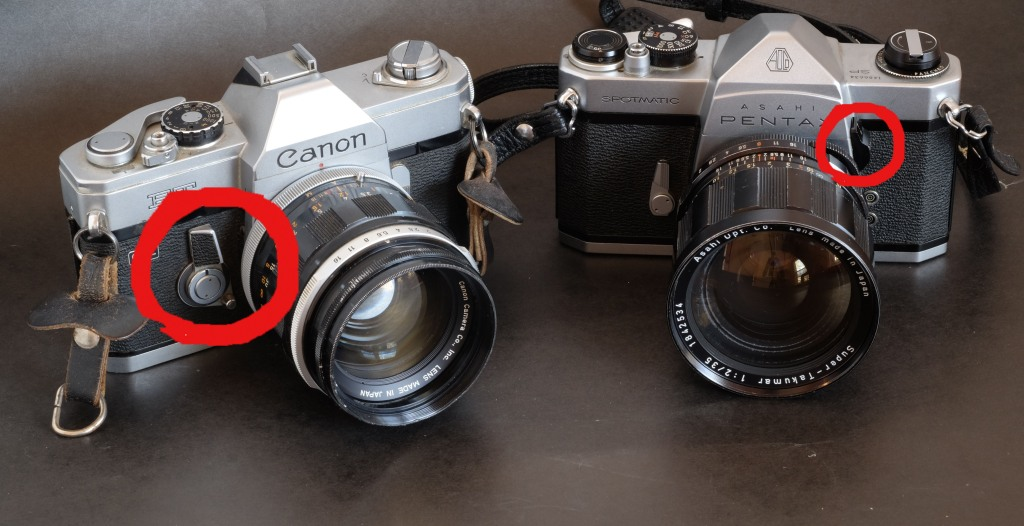 The Canon FT/QL and the Pentaxx Spotmatic SP both offer Stopped Down Metering. To determine the exposure, the photographer has to push the big switch to the left (Canon) or to lift the switch in the red circle (Pentax) - which is not a very natural movement. You wish you had three hands.
