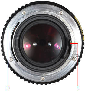 Pentax K mount: Aperture control lever (i); Aperture simulator (ii): Source:pentaxforums.com