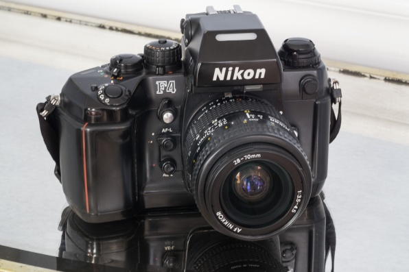 Nikon F4 with the MB-20 grip. The MB-20 grip is smaller than the MB-21, and was standard equipment in most of the world. In the US, the MD-21 was standard.